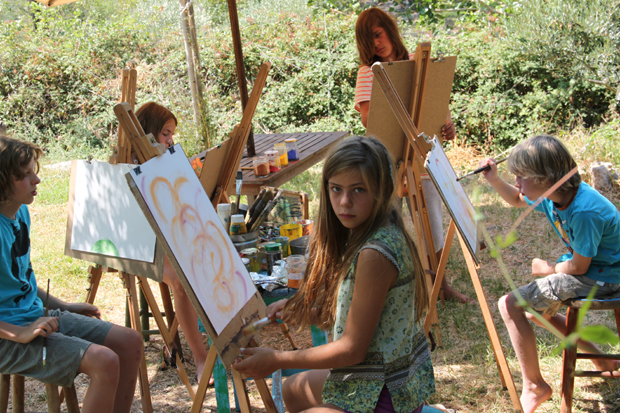 Painting course for children in our garden